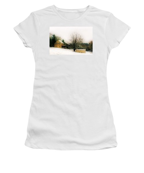 Women's T-Shirt (Junior Cut) featuring the photograph Historic 1700's Farmhouse by Polly Peacock