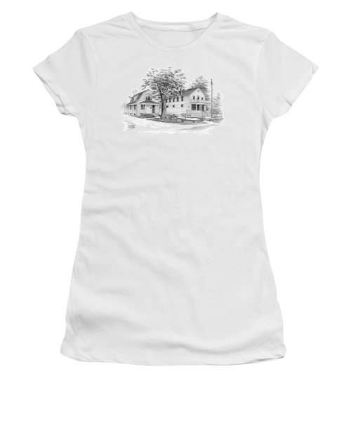 Women's T-Shirt (Junior Cut) featuring the drawing Historic Jaite Mill - Cuyahoga Valley National Park by Kelli Swan