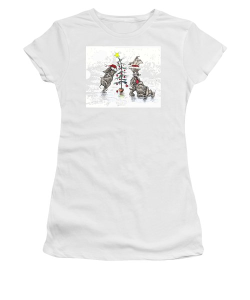 Holiday Ice Women's T-Shirt (Junior Cut) by Donna Tucker