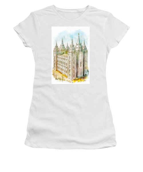 Women's T-Shirt (Junior Cut) featuring the painting Holiness To The Lord by Greg Collins