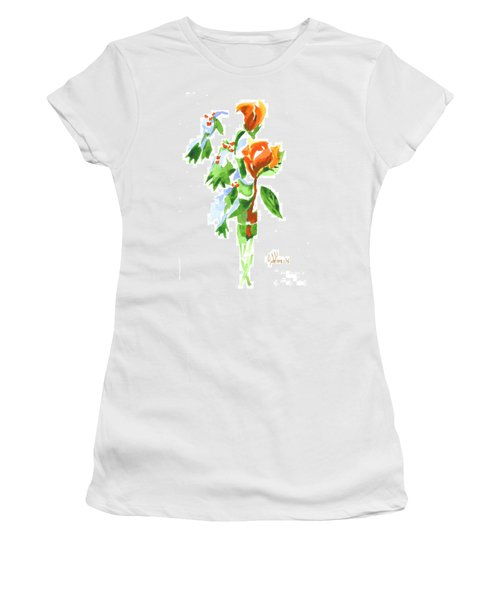 Women's T-Shirt (Junior Cut) featuring the painting Holly With Red Roses In A Vase by Kip DeVore