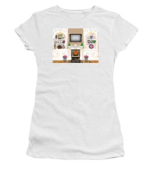 Women's T-Shirt (Junior Cut) featuring the digital art Home For The Holidays by Christine Fournier