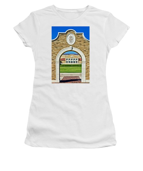 Women's T-Shirt featuring the photograph Homecoming Bonfire Arch by Mae Wertz