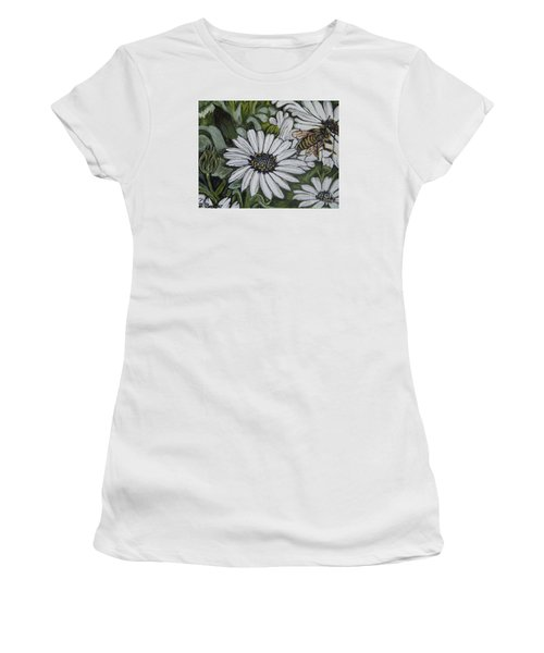 Women's T-Shirt (Junior Cut) featuring the painting Honeybee Taking The Time To Stop And Enjoy The Daisies by Kimberlee Baxter
