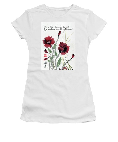 Women's T-Shirt (Junior Cut) featuring the painting Honor With Buddha Quote I by Bill Searle