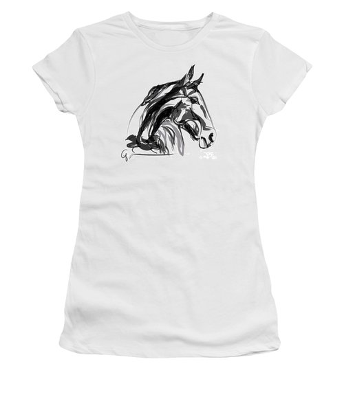 Horse- Apple -digi - Black And White Women's T-Shirt (Junior Cut) by Go Van Kampen