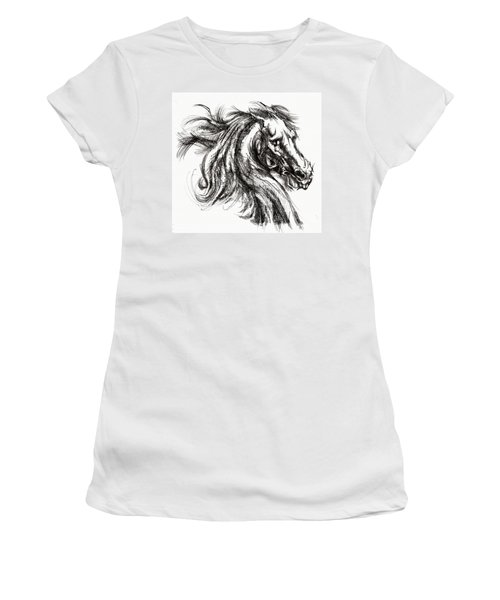 Horse Face Ink Sketch Drawing - Inventing A Horse Women's T-Shirt