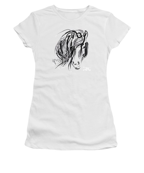 Horse- Hair And Horse Women's T-Shirt (Junior Cut) by Go Van Kampen