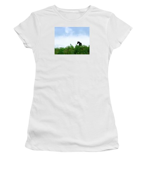 Women's T-Shirt (Junior Cut) featuring the photograph Horse On The Hill by Joan Davis