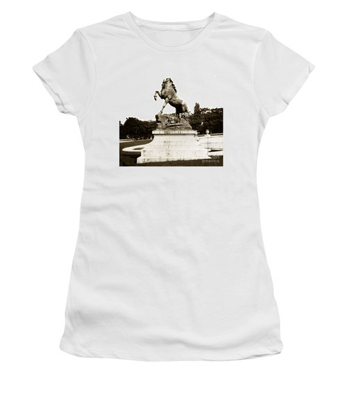 Women's T-Shirt (Junior Cut) featuring the photograph Horse Sculpture Trocadero  Paris France 1900 Historical Photos by California Views Mr Pat Hathaway Archives