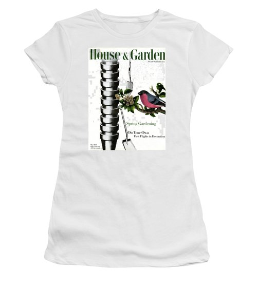 House And Garden Cover Featuring Pots And A Bird Women's T-Shirt