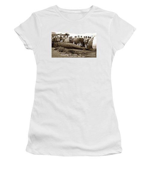 Huge Basking Shark Near Fishermans Wharf Monterey California Circa 1912 Women's T-Shirt