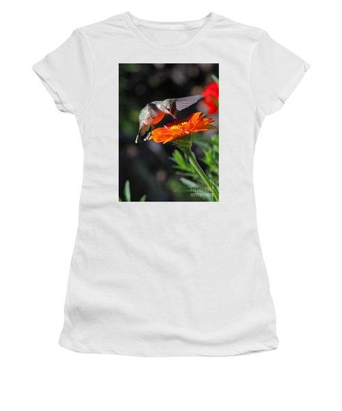 Hummingbird And Zinnia Women's T-Shirt