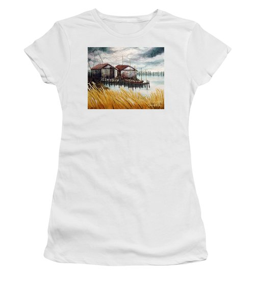 Huts By The Shore Women's T-Shirt (Athletic Fit)