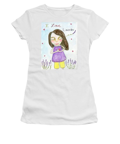 I Love Lavender Women's T-Shirt (Athletic Fit)
