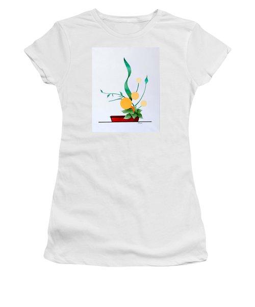 Ikebana #1 Red Pot Women's T-Shirt (Junior Cut) by Thomas Gronowski