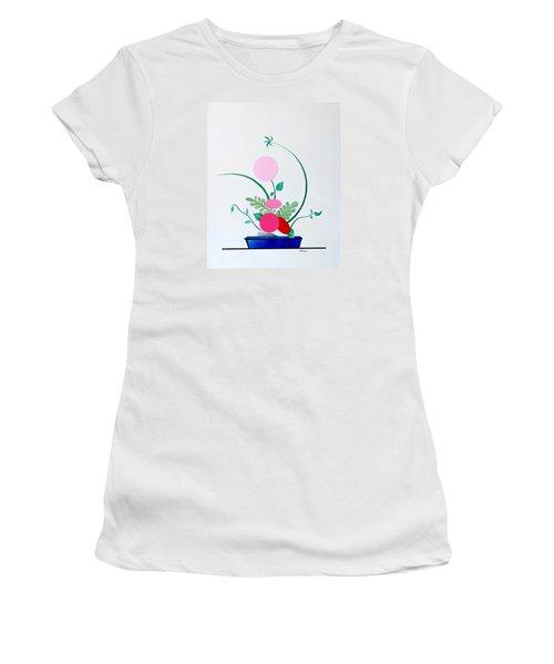 Ikebana #3 Blue Pot Women's T-Shirt (Athletic Fit)