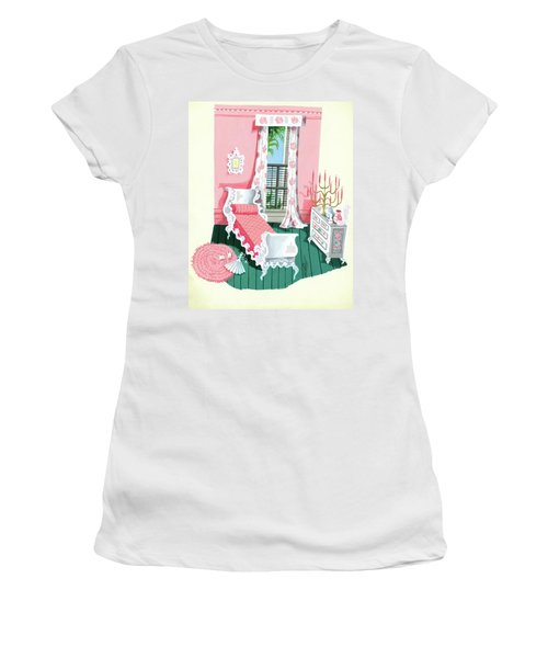 Illustration Of A Victorian Style Pink And Green Women's T-Shirt