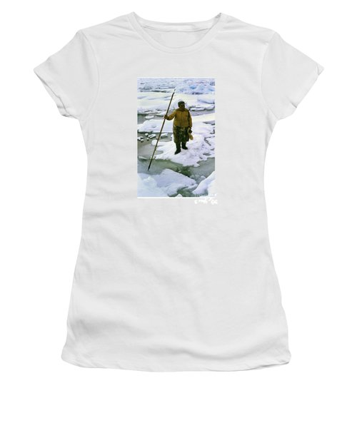 Women's T-Shirt (Junior Cut) featuring the photograph Inuit Seal Hunter Barrow Alaska July 1969 by California Views Mr Pat Hathaway Archives