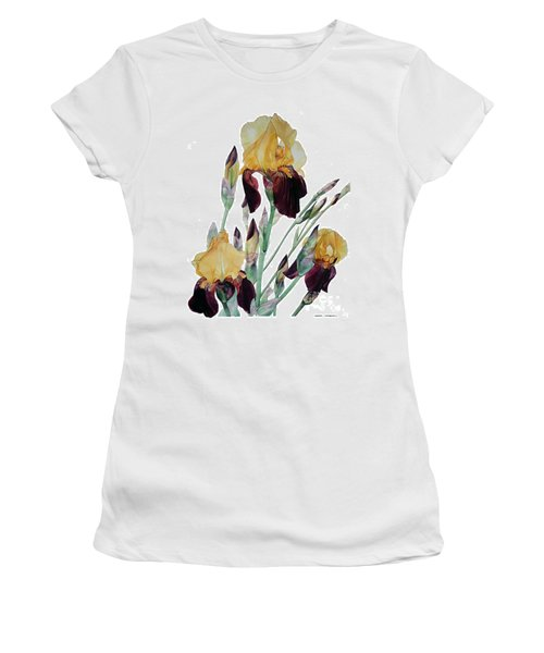 Watercolor Of Tall Bearded Iris In Yellow And Maroon I Call Iris Beethoven Women's T-Shirt (Athletic Fit)