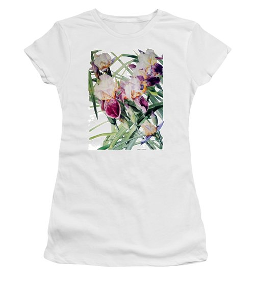 Watercolor Of Tall Bearded Irises I Call Iris Vivaldi Spring Women's T-Shirt (Athletic Fit)
