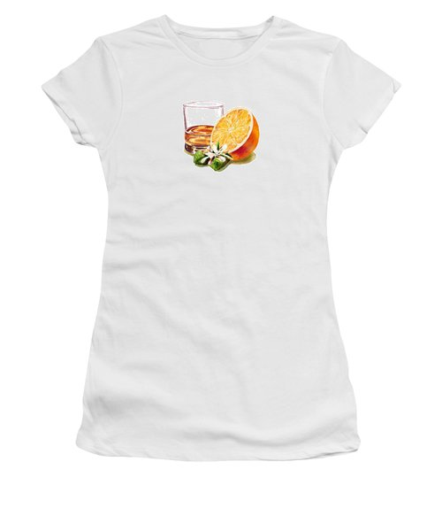 Women's T-Shirt (Junior Cut) featuring the painting Irish Whiskey And Orange by Irina Sztukowski