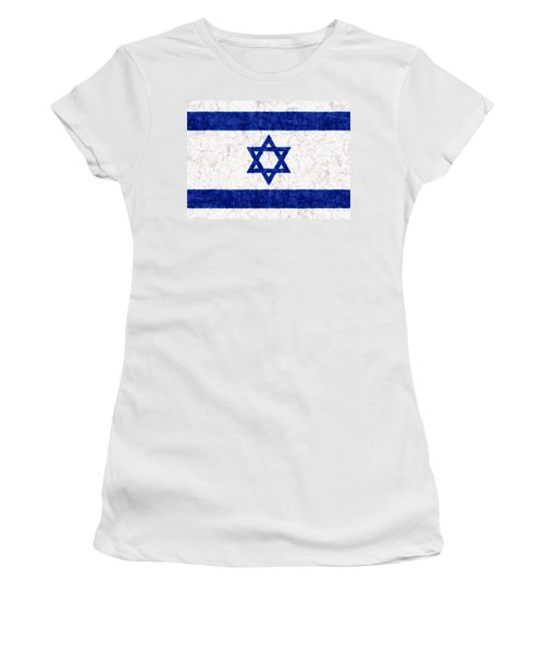 Israel Star Of David Flag Batik Women's T-Shirt (Junior Cut) by Kurt Van Wagner