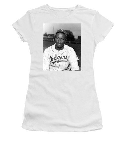 Jackie Robinson Portrait Women's T-Shirt (Athletic Fit)