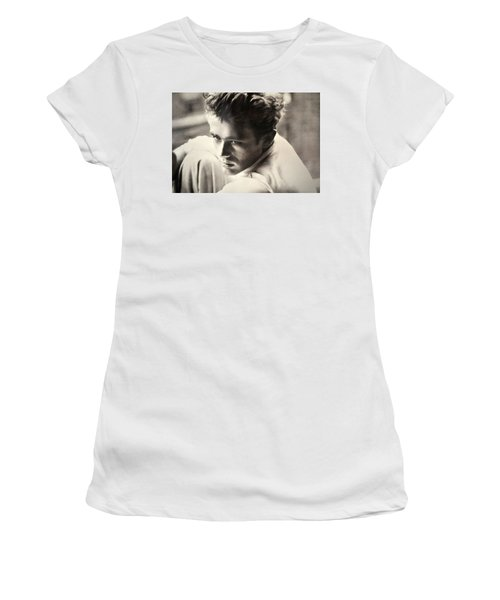 James Dean Black And White Women's T-Shirt (Athletic Fit)