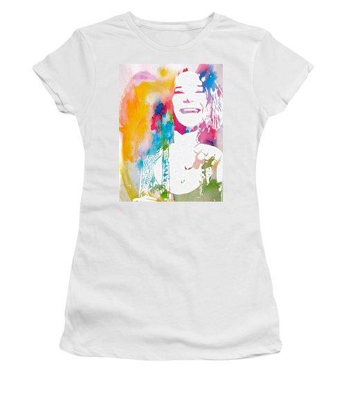 Women's T-Shirt featuring the digital art Janis Joplin Watercolor by Dan Sproul