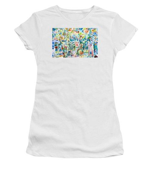 Jerry Garcia And The Grateful Dead Live Concert - Watercolor Portrait Women's T-Shirt (Athletic Fit)
