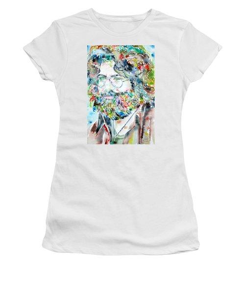 Jerry Garcia Watercolor Portrait.2 Women's T-Shirt (Athletic Fit)