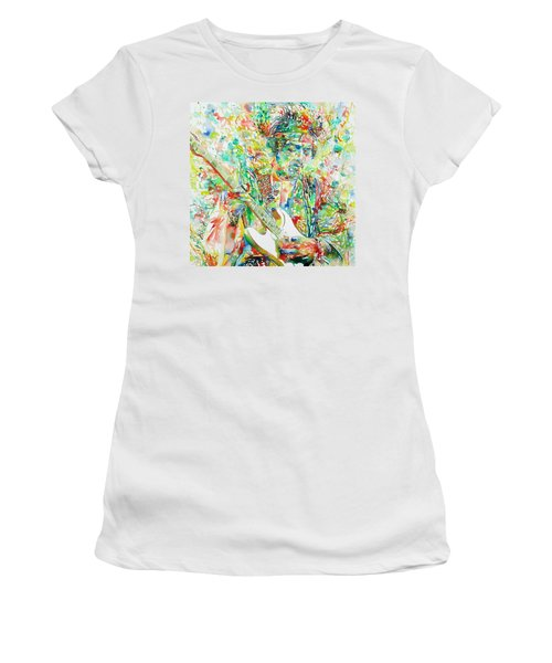 Jimi Hendrix Playing The Guitar Portrait.1 Women's T-Shirt (Athletic Fit)