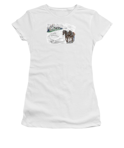 Journeys On The Canal - Canal Boat Print Color Tinted Women's T-Shirt