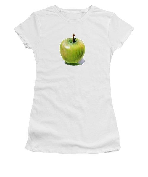 Women's T-Shirt (Junior Cut) featuring the painting Juicy Green Apple by Irina Sztukowski