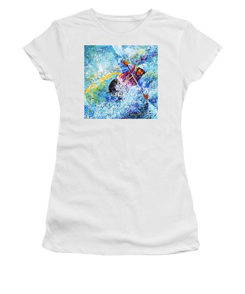 Women's T-Shirt (Athletic Fit) featuring the painting Kayak Crush by Hanne Lore Koehler