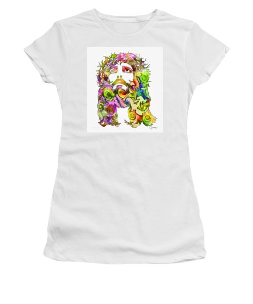 Women's T-Shirt (Junior Cut) featuring the painting King Of Not Of This World by Dave Luebbert