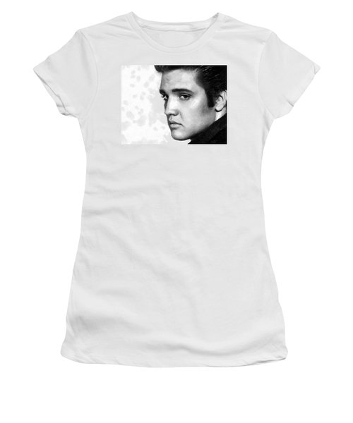 Women's T-Shirt (Junior Cut) featuring the painting King Of Rock Elvis Presley Black And White by Georgi Dimitrov