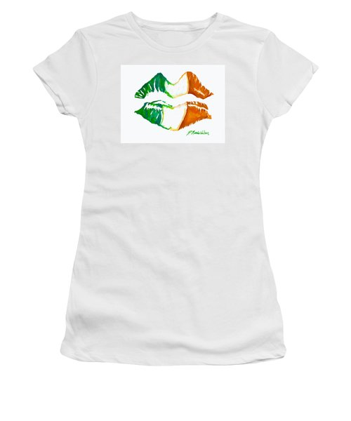 Women's T-Shirt (Junior Cut) featuring the painting Kiss Me I'm Irish by D Renee Wilson