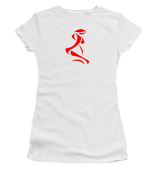 Women's T-Shirt (Junior Cut) featuring the digital art Kneeling Nude by Delin Colon