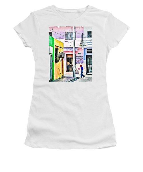 Women's T-Shirt (Junior Cut) featuring the photograph La Farmacia by Jim Thompson