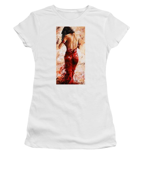 Lady In Red #24 Large  Women's T-Shirt (Athletic Fit)