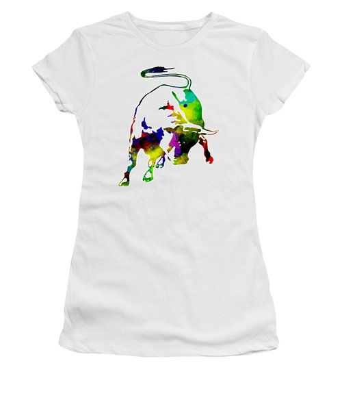 Lamborghini Bull Emblem Colorful Abstract. Women's T-Shirt (Athletic Fit)