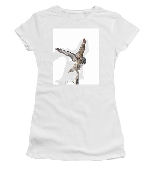 Lapland Owl On White Women's T-Shirt (Junior Cut) by Mircea Costina Photography
