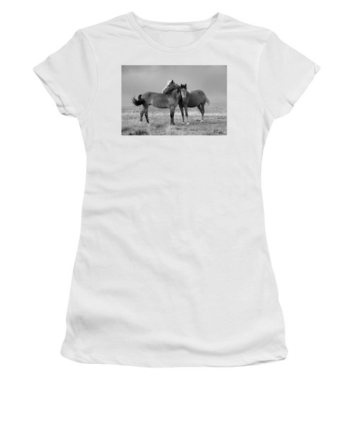 Lean On Me B And W Wild Mustang Women's T-Shirt (Athletic Fit)