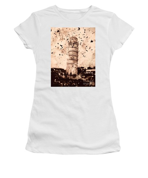Leaning Tower Of Pisa Sepia Women's T-Shirt (Athletic Fit)