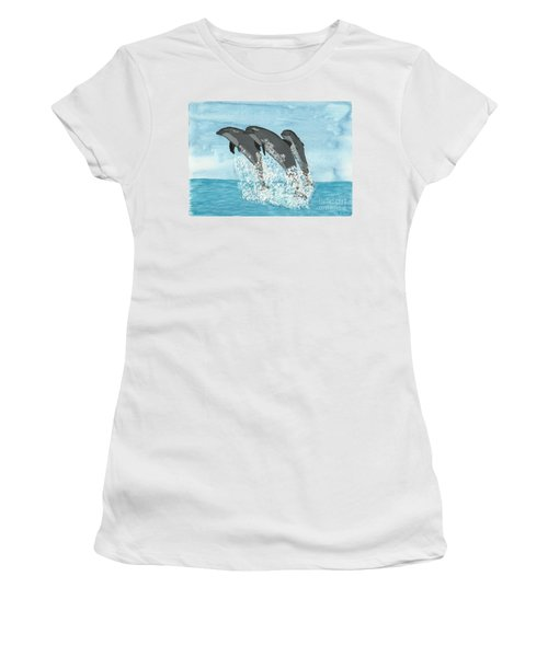 Leaping Dolphins Women's T-Shirt (Athletic Fit)