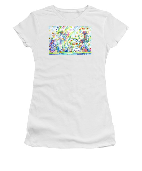 Led Zeppelin Live Concert - Watercolor Painting Women's T-Shirt (Junior Cut) by Fabrizio Cassetta
