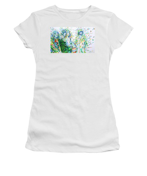 Led Zeppelin - Watercolor Portrait.2 Women's T-Shirt (Junior Cut) by Fabrizio Cassetta