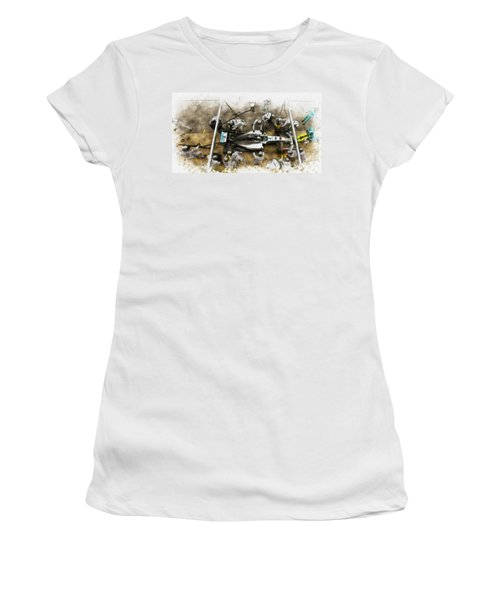 Lewis Hamilton Of Britain Service The Car At Pit Stop Women's T-Shirt (Athletic Fit)